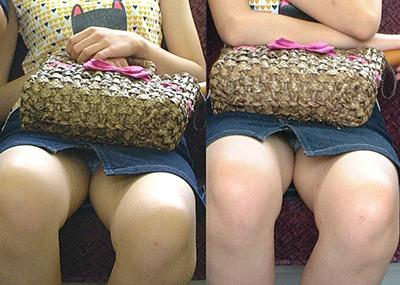 【電車内パンチラ】電車で対面に座ったパンチラ女子から視線が外せない!