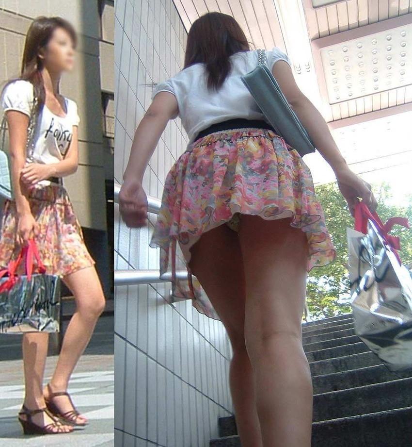 【階段パンチラエロ画像】ミニスカで階段を上る女の子は警戒心が無いのか!?w 18