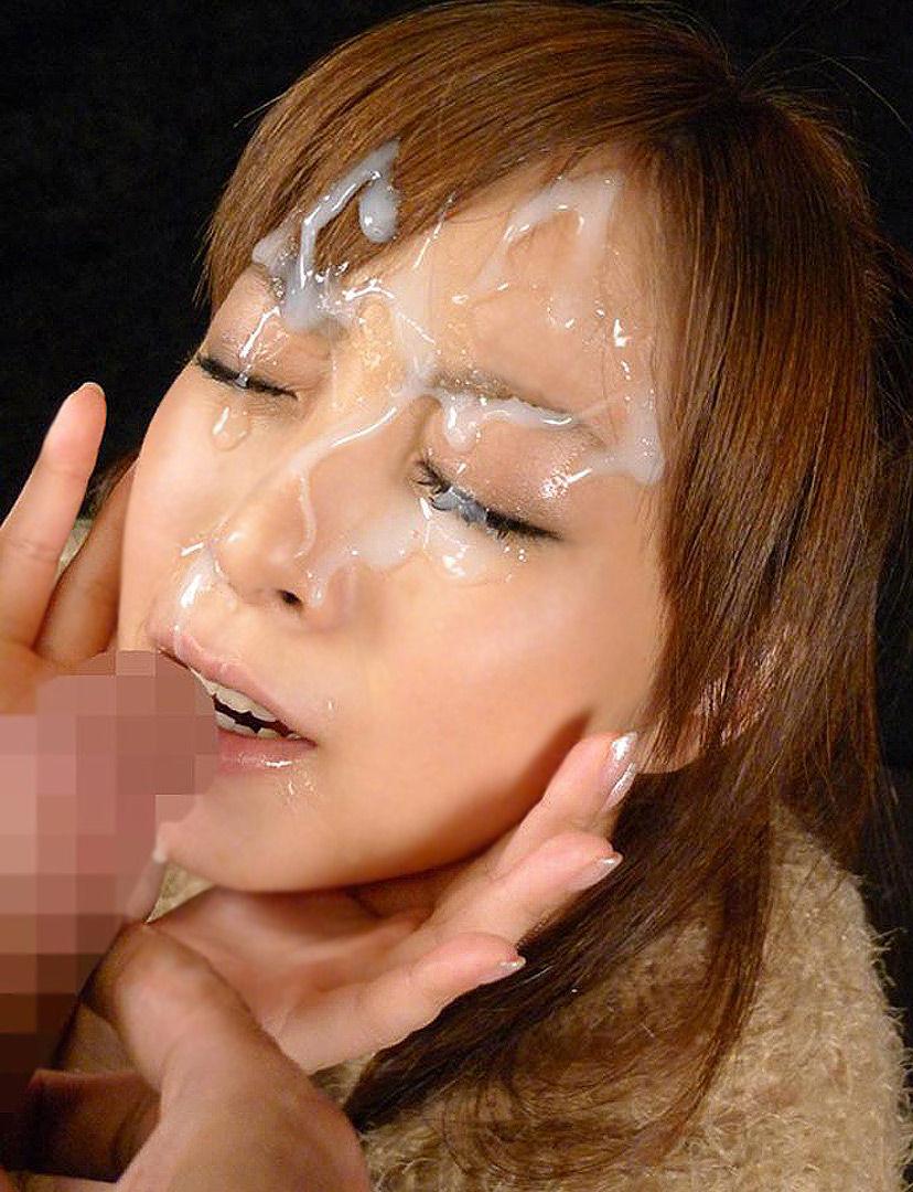 【顔射エロ画像】女の子の顔にザーメンがドロリ!征服欲を満たす顔射! 48