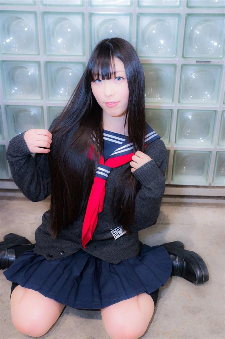 【コスプレエロ画像】JK制服コスプレしている女の子たちの破廉恥すぎるコスプレ画像 25