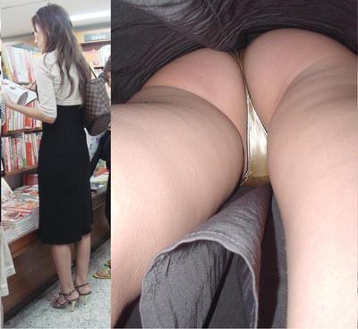 【パンチラ逆さ撮りエロ画像】女の子の直下からスカートの中身を盗撮したったww 41